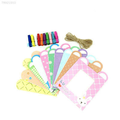 71CB 10Pcs/1Set Hanging Paper Photo Frame Film Album Picture Wall Clip Rope Rand