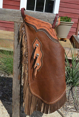 Chinks Brown w/Chocolate Leather Fringe Tooled Yoke Silver Tassel Conchos - XL