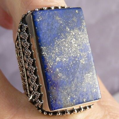 Vintage Statement US 7.25 Superb SilverSari Ring Solid 925 Silver LAPIS LAZULI