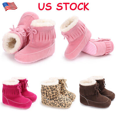 Toddlers Kids Baby Girls Casual Ankle Boots Winter Warm Fluffy Snow Booties USA