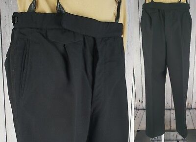 Vtg 1940s Style Button Fly Braided Black Wool Trousers Brace Tabs W35 L31.5 GB48