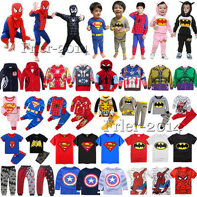 Kids Boys Girl Superhero Hoodies T-Shirt Top Pants Outfit Set Cosplay Costume