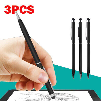 3 x BLACK PRO STYLUS WITH BALL POINT PEN MICRO-FIBRE TIP FOR IPHONE,IPAD,TABLET