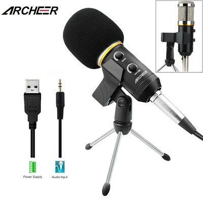 ARCHEER Studio Condenser Microphone Recording Broadcasting Podcast MIC W/ Stand