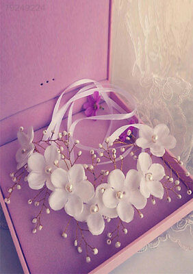 Fashion Elegant Hand Made Flower Pearl Ribbon Bridal Headband Hairband Headwear