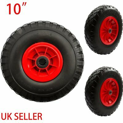 """10"""" Puncture Burst Proof Solid Rubber Sack Truck Trolley Wheels Spare Tyres"""
