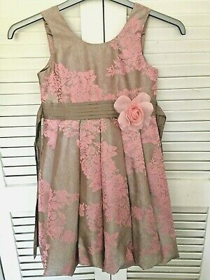 Monsoon Age 9-10 Beautiful Gold Bubble Hem Pink Floral Special Occassion Dress