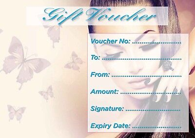 Beauty Salon nail bar blank gift voucher/card x10 plus envelopes !!!