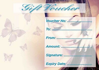 Beauty Salon nail blank gift voucher/card x10 plus envelopes !!!