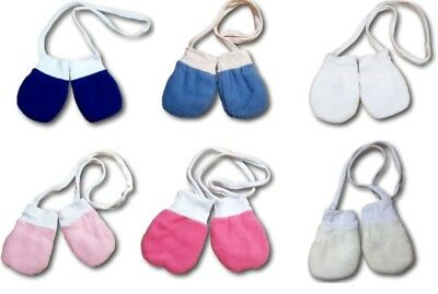 Newborn Baby Winter Fleece Mittens With String Plain Gloves Cotton Lining Unisex