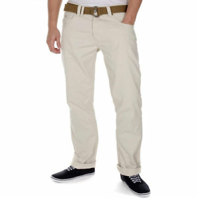 Mens New Smith & Jones Eastwood Belted Chino Jeans Trousers - 30 Long - Cream