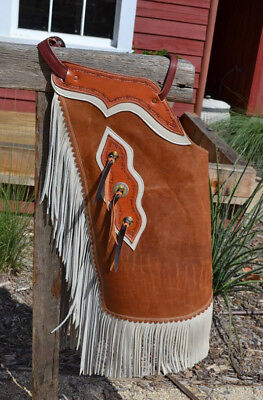 Chinks Distressed Brown w/White Leather Fringe & Trim Tassel Conchos - Small