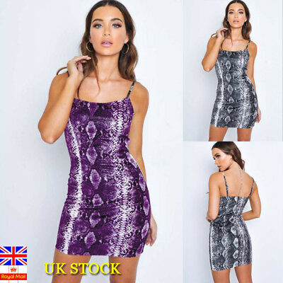 Women Snake Print Bodycon Mini Dress Ladies Party Backless Sling Dress Clubwear