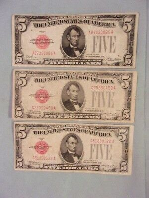 LOT OF THREE $5 RED SEAL U.S. NOTES -- 1 of 1928, 2 of 1928-C