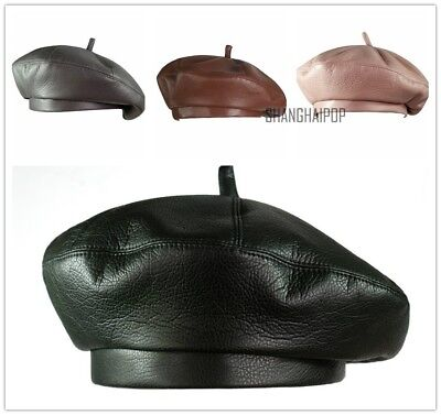 a7b849d9a832c Women Faux Leather Beanie Beret Cap Retro Military Soldier Army French Hats  Cute