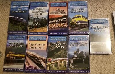 Great American Rail Journeys VHS Collection Lot Of 9 Mostly New