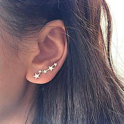 Cute Star Stud Earrings Ear Climber Cuff Earrings Ear Crawler Fashion Jewelry
