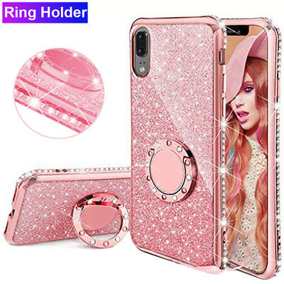 For Huawei Mate 20 Pro/P20 Lite Ring Holder Case Shockproof Bling Diamond Cover
