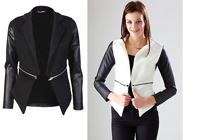 NEW Womens Long Sleeve Open Waterfall Quilted Faux Leather Look Blazer Jacket