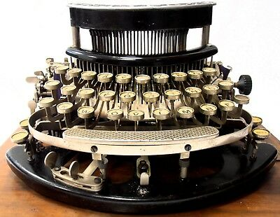 antique Typewriter TYPO curved keyboard +wooden base+cover 1917 maquina escribir