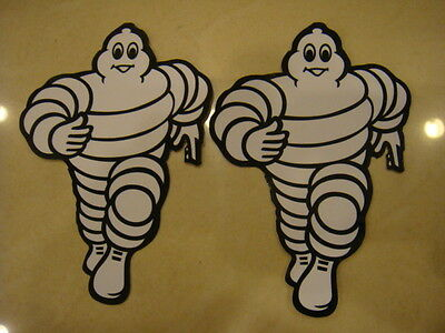 Pair of medium 13x8cm MICHELIN man-bibendum vertical logo stickers (Free S/H)