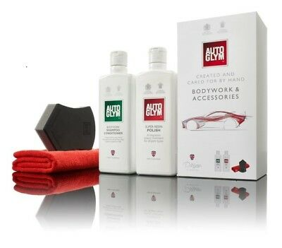 Autoglym Bodywork & Accessories Gift Set Valet Kit Shampoo Polish Pad Cloth