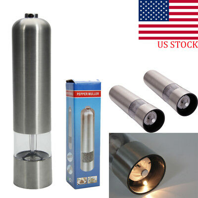 LED Electric Salt Pepper Mill Set Grinder Shaker Stainless Steel Kitchen Tool US