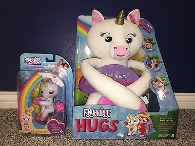 Gigi Fingerlings Hugs + Gigi Fingerling Unicorn Interactive Pet WowWee IN HAND