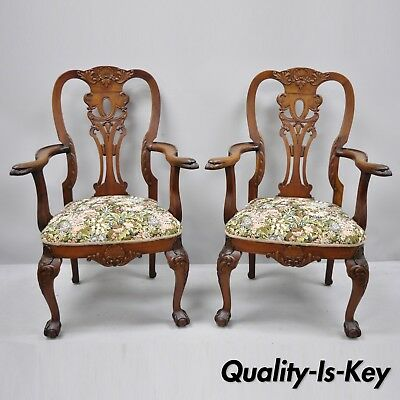 Pair Early 20th C. Mahogany Chippendale Style Armchairs with Carved Eagle Heads