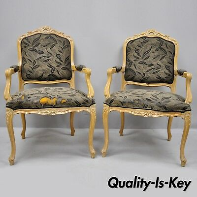Pair of Vintage Chateau D'Ax Spa French Louis XV Style Chairs Italian Armchairs