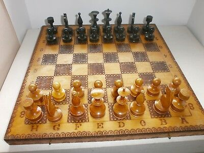 ANTIQUE VINTAGE HAND MADE WOODEN CHESS AND BACKGAMMON GAME BOARD - 1950s № 1