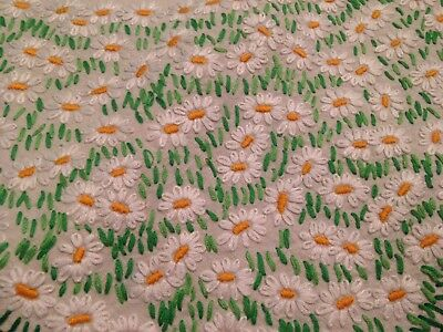 Vintage Hand Embroidered Pale Cream Linen Tablecloth ~  Stunning Daisies