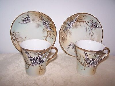 2 Nagoya Nippon Hand Decorated Raised Bird In Flight Porcelain Cup & Saucer