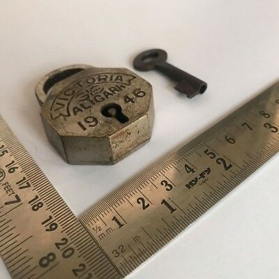 An Old antique solid brass padlock lock with key small miniature RAREST SHAPE