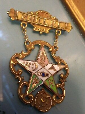Antique Daughters Rebekah Odd Fellows /Masons  44 Year Gold  Enamel pin Banner