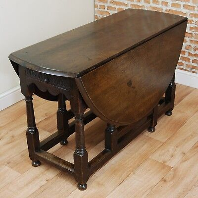 Original Antique Early Georgian Solid Oak Drop Leaf / Gate Leg Table C1785