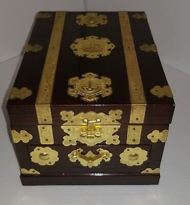 Asian Lacquered Jewelry Box with Adjustable Mirror & Gold Trim - Make Offer