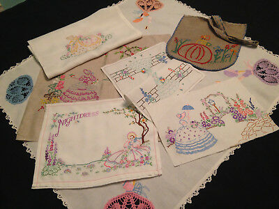Vintage Hand Embroidered Linens ~ Collection ~ All Beautiful Crinoline Ladies