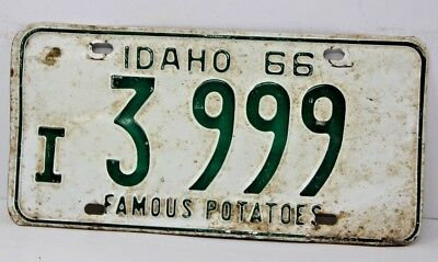 1966 IDAHO License Plate Collectible Antique Vintage Famous Potatoes I 3-3999