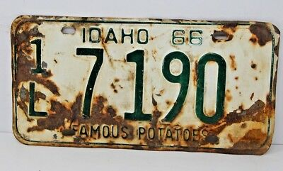 1966 IDAHO License Plate Collectible Antique Vintage Famous Potatoes 1L 7-190