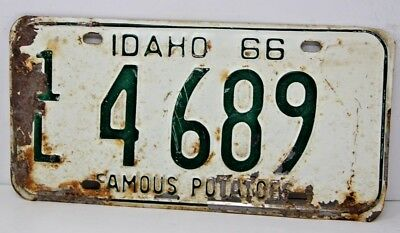 1966 IDAHO License Plate Collectible Antique Vintage Famous Potatoes 1L 4 689
