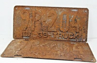 1939 IDAHO License Plate Collectible Antique Matching Set Pair 9P-204