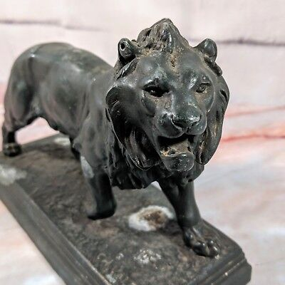 Vintage CH. VALTON Fabrication Francaise Paris France Iron Cast Lion Sculpture