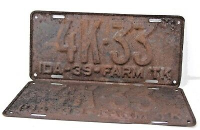 1939 IDAHO License Plate Collectible Antique Matching Set Pair 4K-33