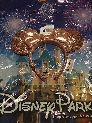 New Disney Parks Rose Gold Champagne Minnie Mouse Bow Sequins Ear Headband NWT