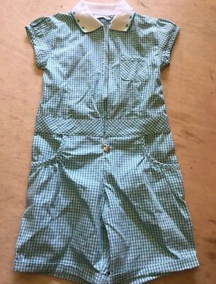 M&S School Green Gingham Shorts All In One Jumpsuit 3-4 Years