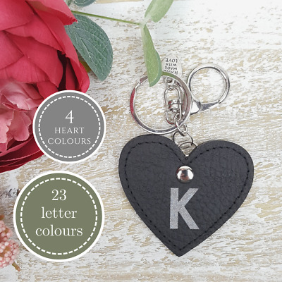 Letter Initial Keychain Black Love Heart Personalised Gift Real Leather Handmade