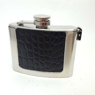 4 oz Silver flask Belt Buckle with alligator printed leather