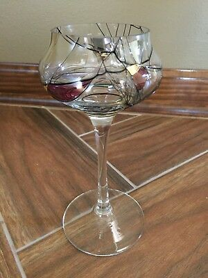 Partylite Stained Glass Mosaic Stemmed Goblet  EUC
