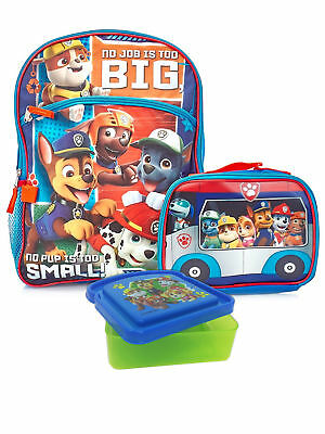 "Boys Paw Patrol Backpack 16"", Insulated Lunch Bag & Sandwich Container 3-Pcs"